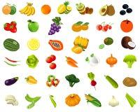 Установите oh healhty фрукты и овощи еды Стоковое фото RF
