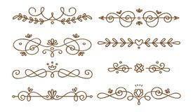 Установите swirly декоративных рассекателей иллюстрация вектора