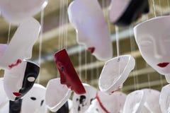 Установка белых, черных и красных маск Стоковое фото RF