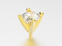 установка диаманта головы колышка желтого золота иллюстрации 3D Стоковое фото RF