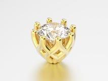 установка диаманта желтого золота иллюстрации 3D декоративная Стоковая Фотография RF
