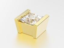 установка диаманта канала бара желтого золота иллюстрации 3D Стоковая Фотография RF