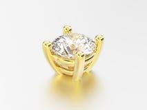 установка диаманта корзины желтого золота иллюстрации 3D Стоковые Изображения RF