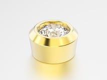 установка диаманта шатона желтого золота иллюстрации 3D Стоковая Фотография RF