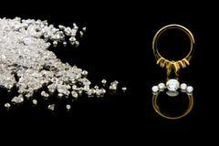 установка кольца диаманта Стоковая Фотография