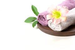 Установка курорта полотенца, цветка изолированного на белизне с космосом экземпляра Стоковые Фотографии RF