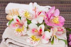 Установка курорта с цветками alstroemeria стоковая фотография