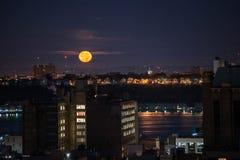 Установка луны в Нью-Йорке Стоковая Фотография RF