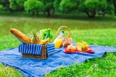Установка пикника с белым вином, грушами, плодоовощи, Стоковое Изображение