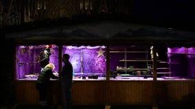 Установка рождественской ярмарки перед инаугурацией перед собором Нотр-Дам сток-видео