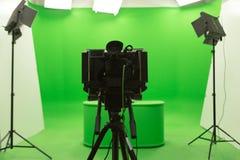 Установка студии ТВ зеленой предпосылки ключа chroma экрана современная Стоковое Фото