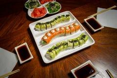 Установка таблицы maki&rolls суш Стоковое Изображение RF