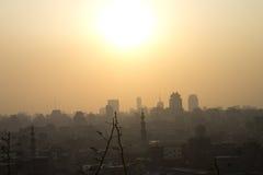 Установка Sun над Каиром Стоковые Изображения RF