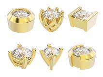 установки диаманта желтого золота иллюстрации 3D различные Стоковое Изображение