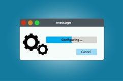 Установки системной конфигурации бара прогресса стоковые изображения rf