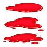 Установленная жидкость крови лужицы, вектор plash бассейна, изолированный стиль мультфильма, иллюстрация, на белой предпосылке иллюстрация штока