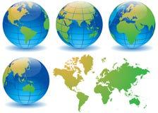 Установленная карта мира глобуса - иллюстрация вектора Стоковая Фотография
