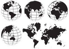 Установленная карта мира глобуса - черно-белый Стоковые Изображения