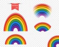 Установленная радуга 3D различный вид цветовая гамма с подкраской Элементы дизайна вектора изолированные на прозрачной предпосылк иллюстрация штока