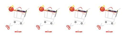 Установленная супер продажа 25 до 70 с скидки Знамя с корзиной в горизонтальном формате с стикером Большая скидка, шаблон для рек Стоковая Фотография