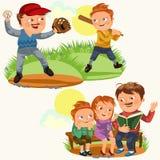 Установленная счастливая поздравительная открытка дня отцов, потеха папы с детьми, прочитала книгу для детей в скамейке в парке,  иллюстрация вектора