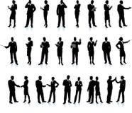 установленные бизнесмены silhouette супер Стоковое Изображение