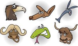 Установленные головки диких животных шаржа иллюстрация штока