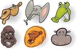 Установленные головки диких животных шаржа бесплатная иллюстрация
