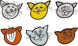 Установленные головки котов шаржа смешные иллюстрация штока