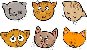 Установленные головки котов шаржа смешные иллюстрация вектора