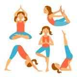 Установленные дети йоги также вектор иллюстрации притяжки corel Стоковое Изображение