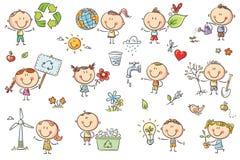 Установленные дети Eco бесплатная иллюстрация