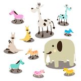 Установленные дикие животные doodle иллюстрации животных жизни пастельной крысы жирафа лисы собаки слона лошади одичалые Стоковая Фотография RF