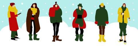 Установленные женщины зимы иллюстрация штока