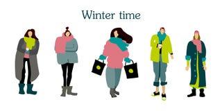Установленные женщины зимы иллюстрация вектора