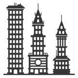 Установленные здания небоскреба города современные вектор Стоковое Фото