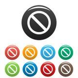 Установленные знак запрета или отсутствие значки знака иллюстрация штока