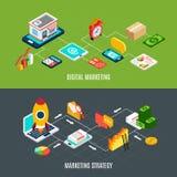 Установленные знамена маркетинга цифров Стоковое Изображение