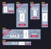 Установленные знамена продажи рождества Голубая предпосылка, снежинки, деревья, указатель места заполнения изображения Стоковые Изображения RF