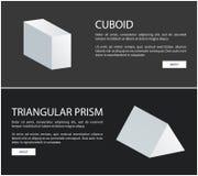 Установленные знамена сети вектора Cuboid и триангулярной призмы бесплатная иллюстрация