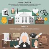 Установленные знамена судебной системы бесплатная иллюстрация