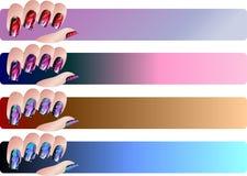 Установленные знамена Manicure Стоковая Фотография