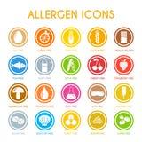 Установленные значки аллергена Стоковые Изображения