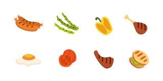 Установленные значки барбекю Зажарьте еду, bbq, жаркое, иллюстрацию вектора шаржа стейка иллюстрация вектора