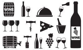 Установленные значки вина: бутылка, консервооткрыватель, стекло, виноградина, бочонок Конструируйте элементы для ресторана, еды и иллюстрация вектора