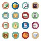Установленные значки дела финансовые Плоский дизайн бесплатная иллюстрация