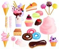 Установленные значки десертов помадок красочные иллюстрация штока