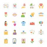 Установленные значки дня матерей плоские бесплатная иллюстрация