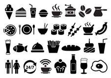 Установленные значки еды и питья вектора иллюстрация штока