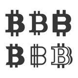 Установленные значки знака Bitcoin вектор Стоковые Фото